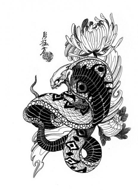 Эскизы черной змеи 2013 (7)