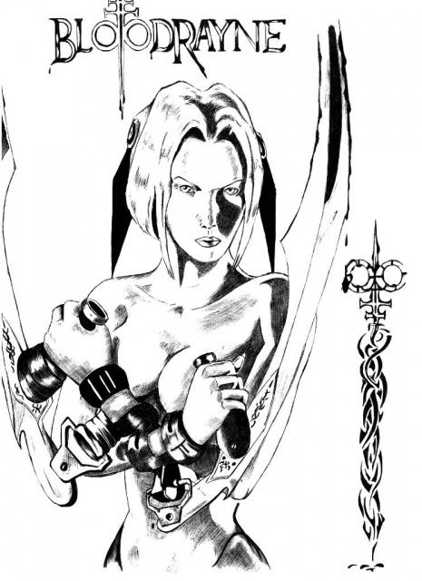 Черно белый эскиз девушки полувампира