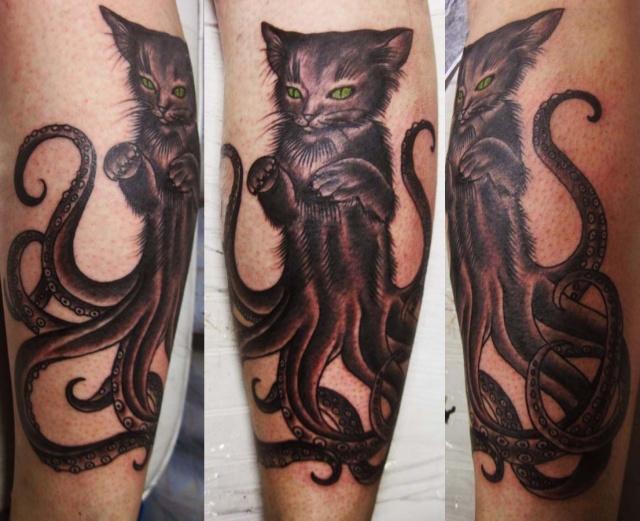 Татуировка кошки осьминога — фото