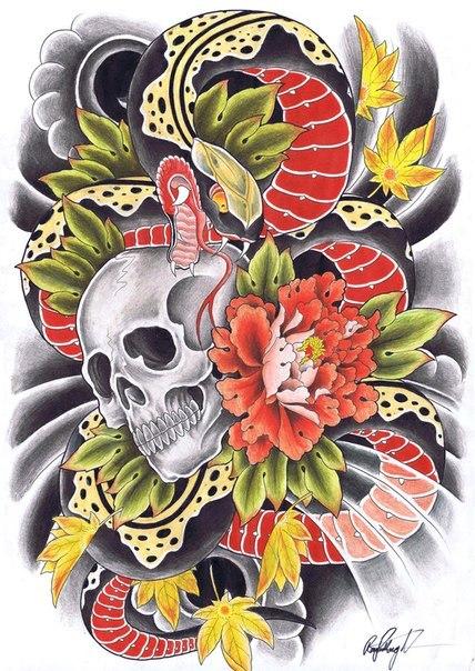 Эскизы татуировок цветные и черно