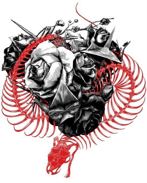 черно-белый эскиз розы