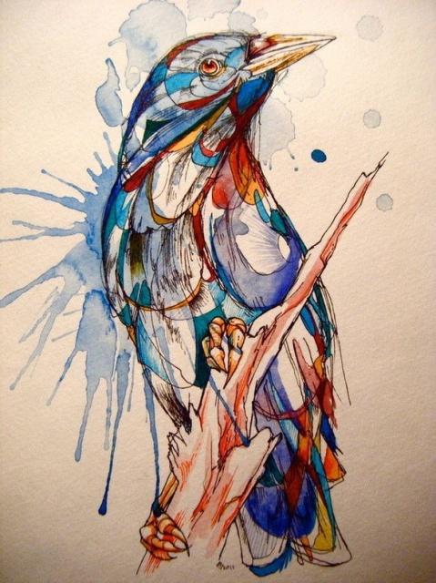 Цветные эскизы птицы (2)