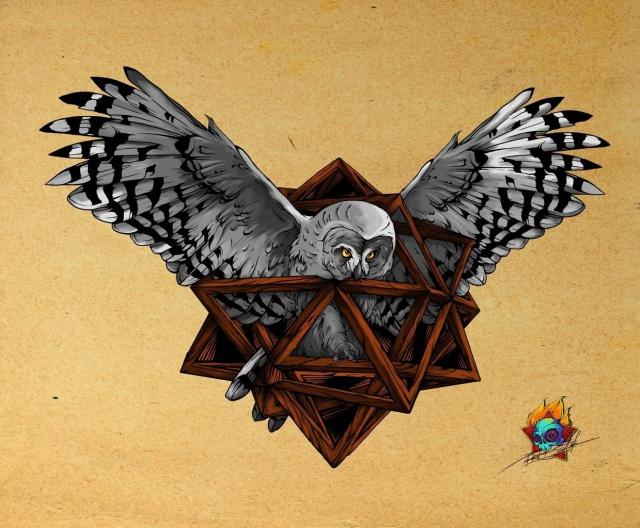 Цветные эскизы татуировок сова