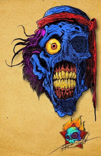 Цветные эскизы татуировок череп