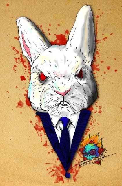 Цветные эскизы татуировок заяц