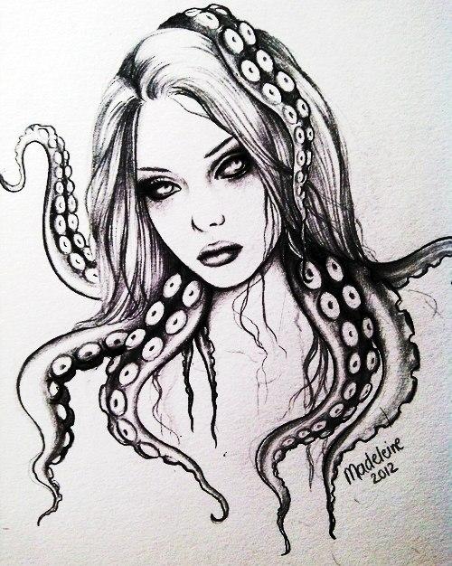 Черно-белые эскизы девушек (3)