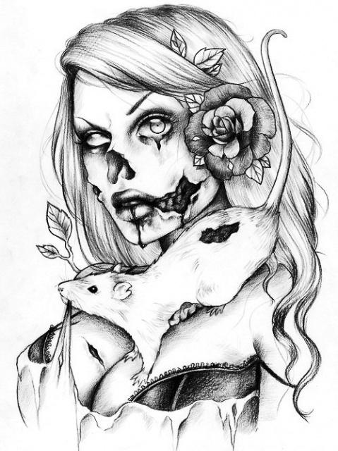 Черно-белые эскизы девушек (5)