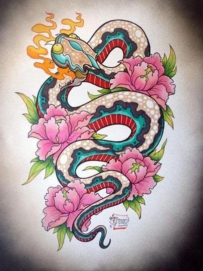Цветные эскизы змей 2013 (8)