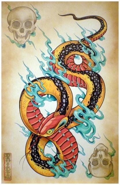 Цветные эскизы змей 2013 (6)