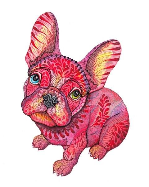 Цветные идеи эскизов татуировок собака