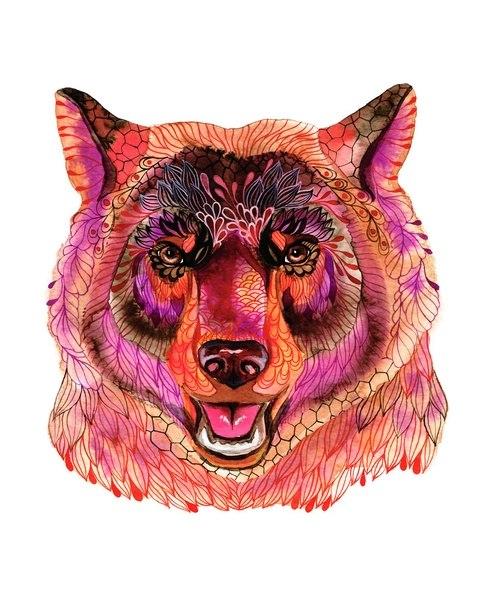 Цветные идеи эскизов татуировок медведь