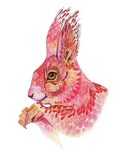 Цветные идеи эскизов татуировок заяц