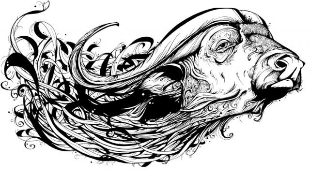 Черно-белые эскизы тату (4)