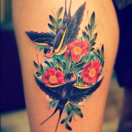 татуировка ласточки на ноге (1)
