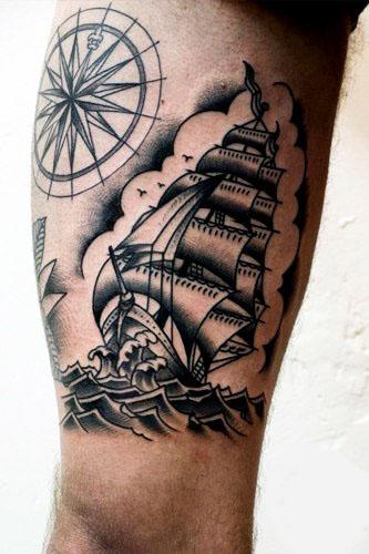 Татуировки кораблей на ноге (5)