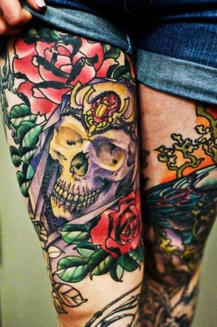 Татуировки черепов на ногах