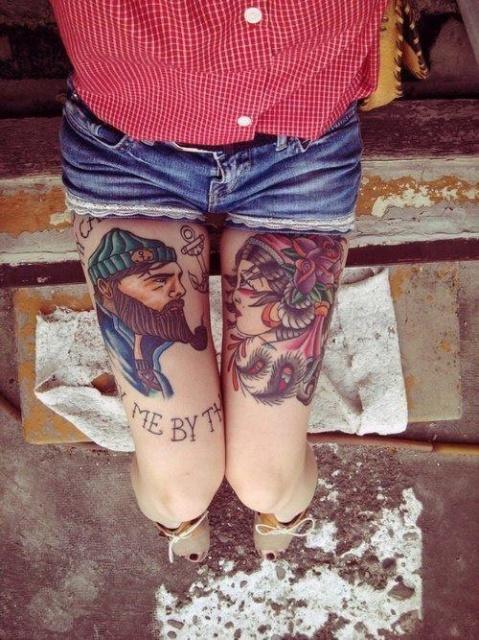Фото с татуировками на ногах