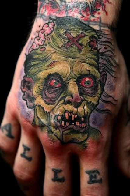 Татуировки зомби на кисти руки
