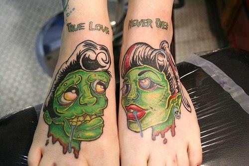 Татуировки зомби парные на ногах