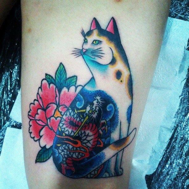 Кот фото татуировки (2)