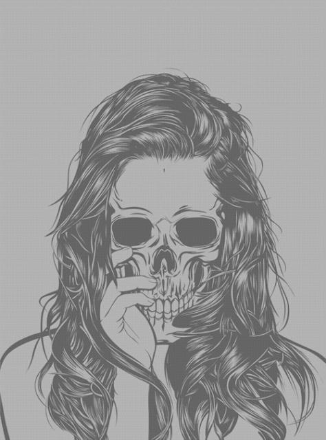 эскиз девушки череп (12)