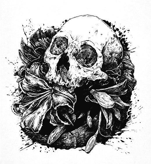 эскиз девушки череп (8)