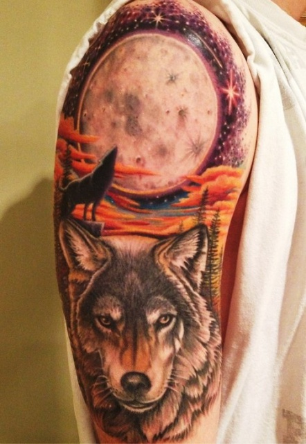 Тату мужские волк