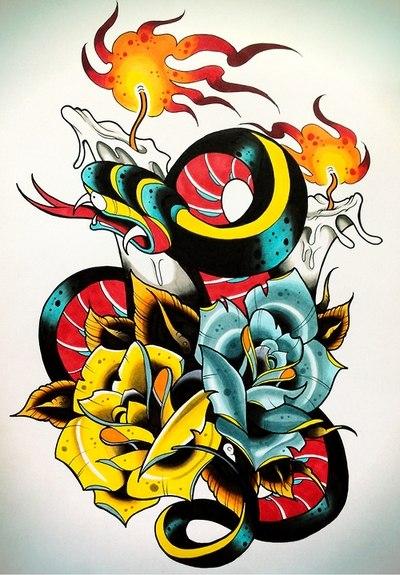 Цветные эскизы татуировок (6)