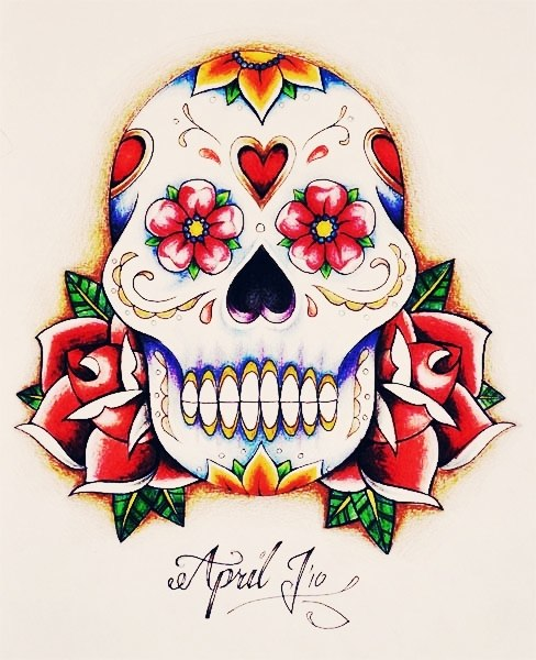 Цветные и богато украшенные черепа