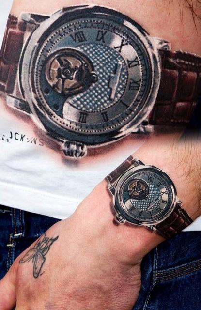 Татуировка часов на запястье