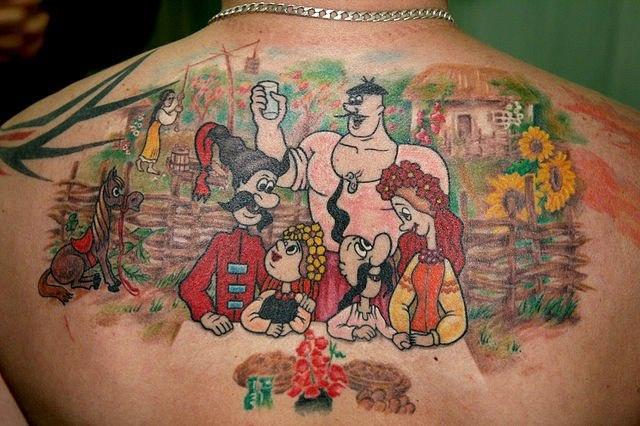 казаки спина татуировка