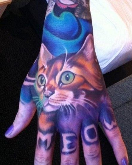 татуировки кот руки (7)