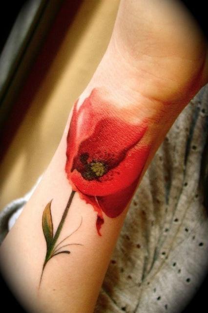 татуировки цветы маки (6)