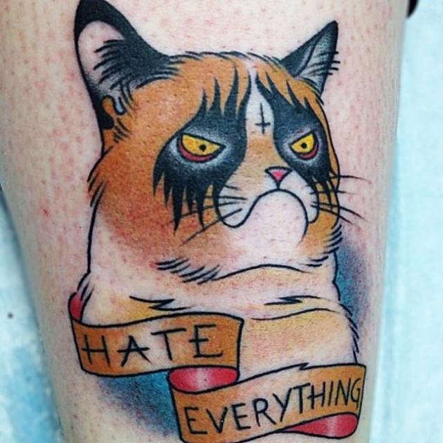 грустный кот татуировка (2)
