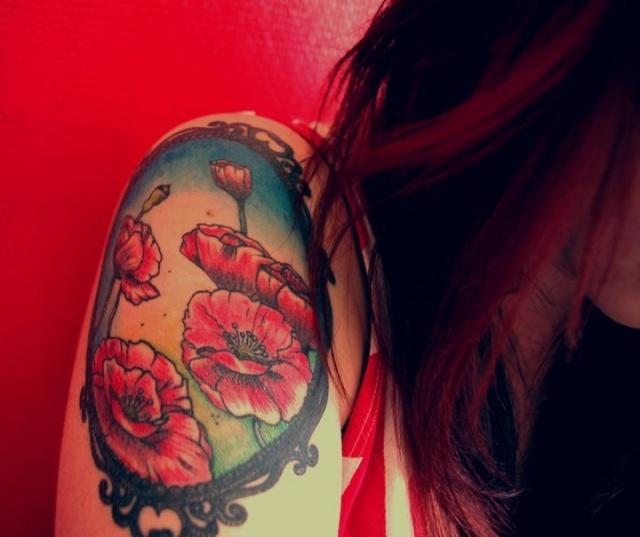 татуировки цветы маки (1)