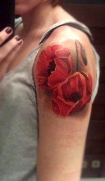 татуировки цветы маки (5)