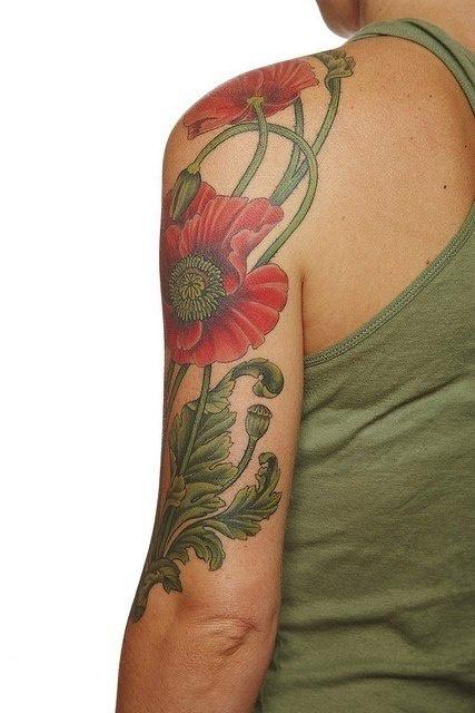 татуировки цветы маки (4)