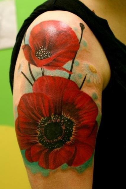 татуировки цветы маки (3)
