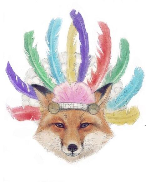 Цветные эскизы лисы (6)
