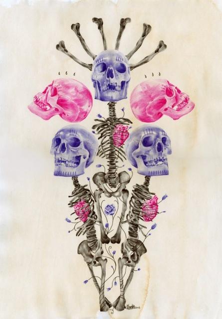 Цветные эскизы черепа (6)