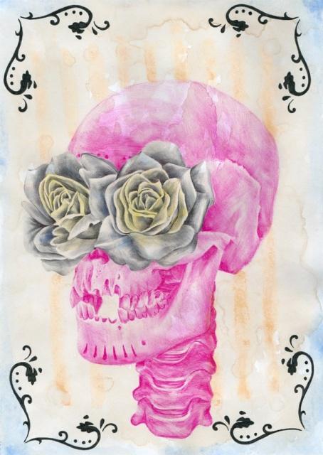 Цветные эскизы черепа (7)