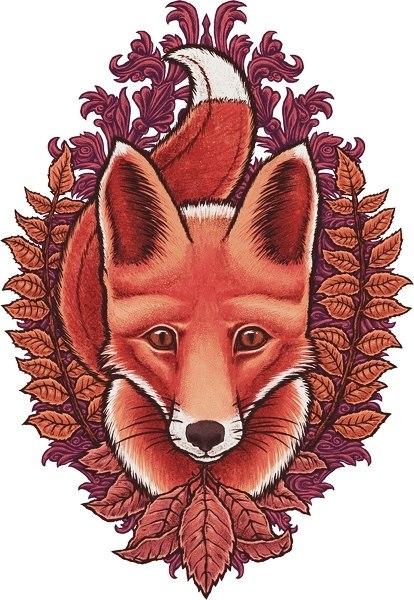 Цветные эскизы лисы (2)