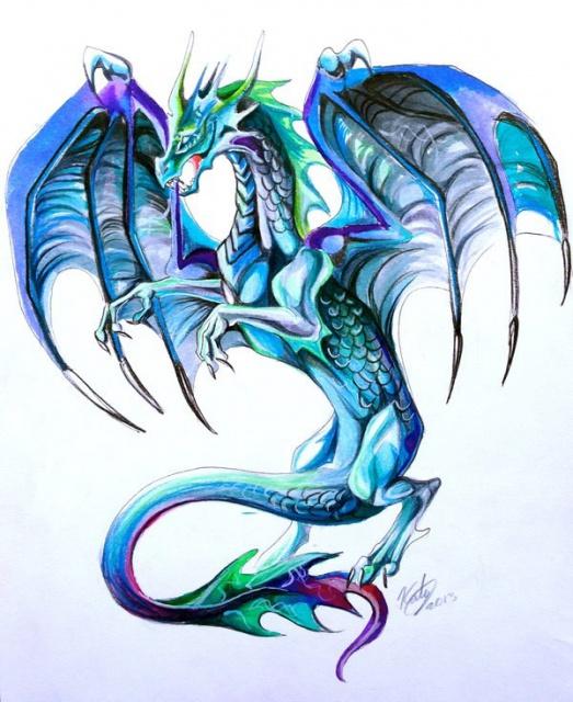 Цветные эскизы дракон (3)