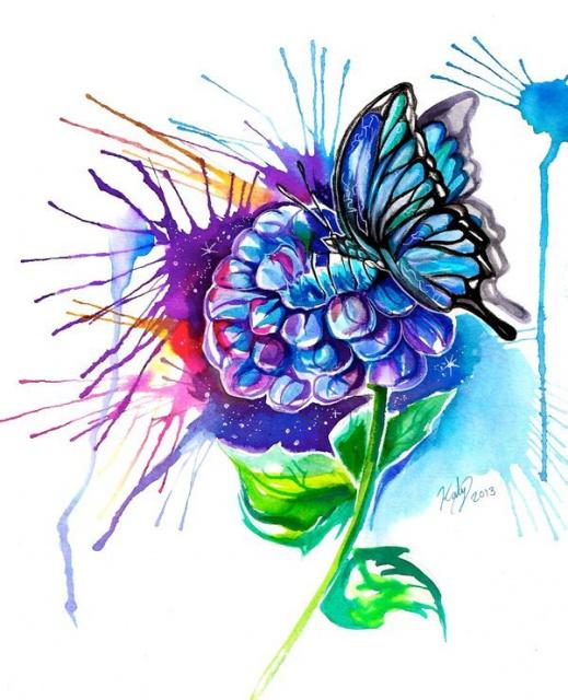 Цветные эскизы бабочки