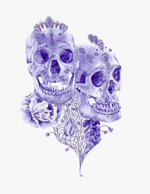 Цветные эскизы черепа (2)