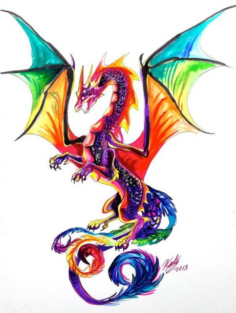 Цветные эскизы дракона