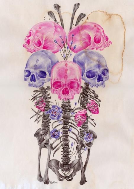 Цветные эскизы черепа (3)