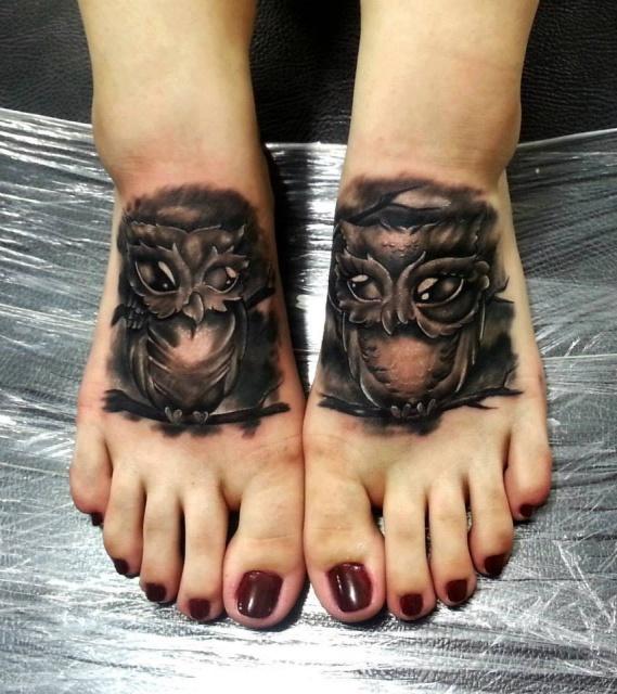 парная татуировка совы