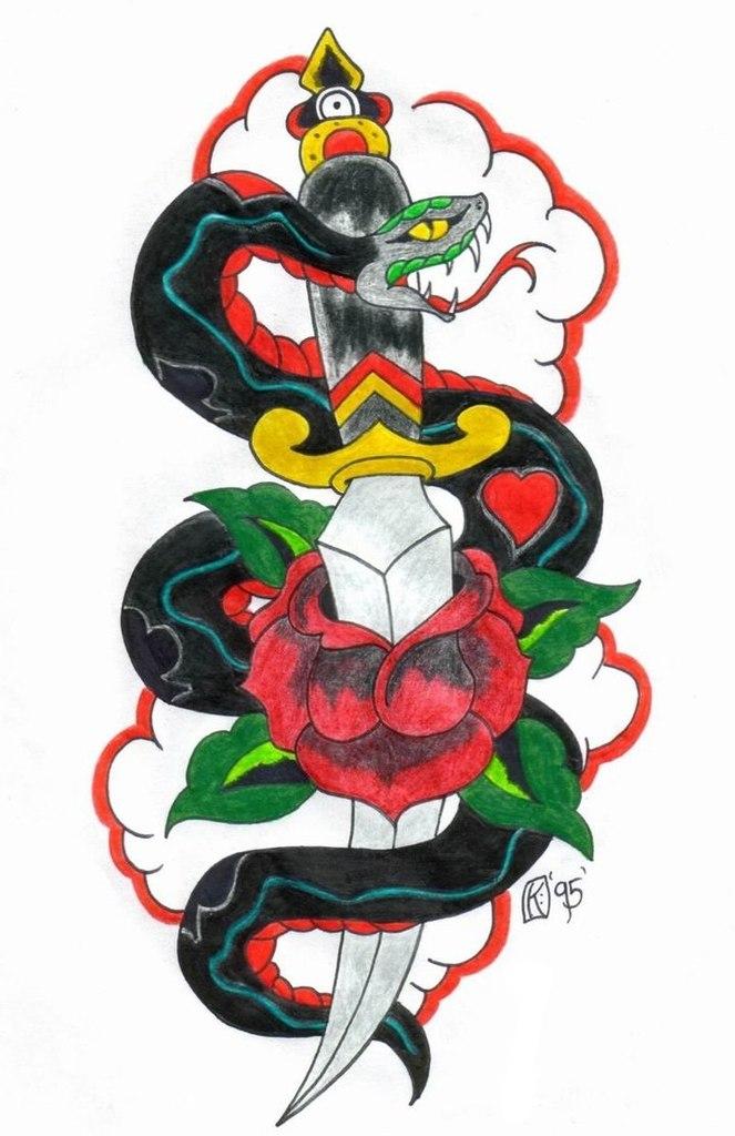 Татуировки с кинжалом (7)