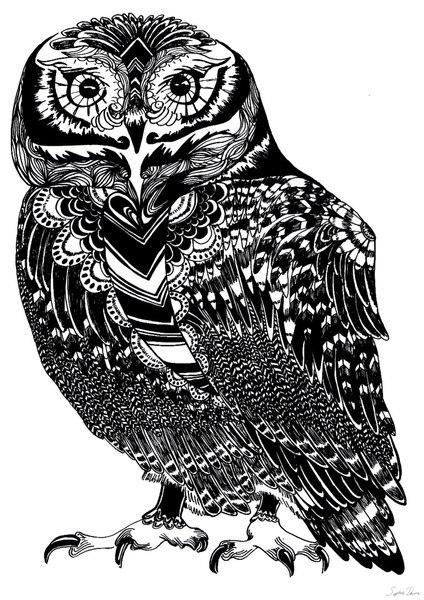 Эскизы и значение татуировки совы 6
